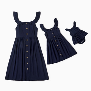 Mommy and Me 100% Cotton Ruffle Decor Solid Tank Dresses