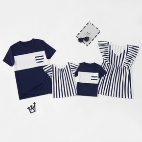 Stripe Splice Series Family Matching Tops
