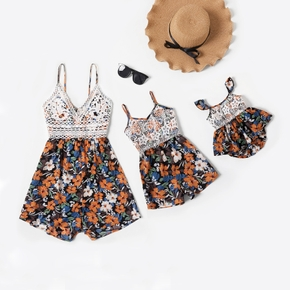 Lace Stitching Floral Print Sling Rompers for Mommy-girl-baby