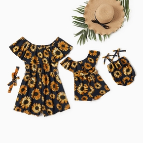 Mommy and Me Sunflower Print Off-the-shoulder Rompers