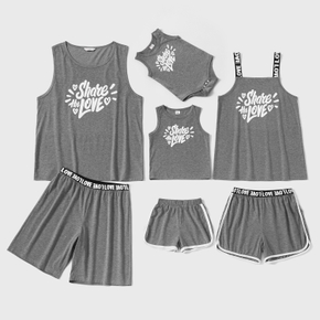 Letter Print Family Matching Grey Pajamas Sets(Flame Resistant)