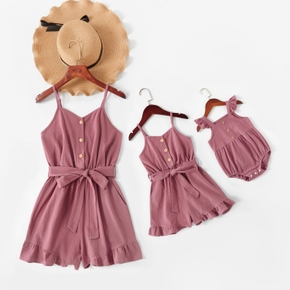 100% Cotton Solid Pink Sling Rompers with Buttons for Mommy and Me