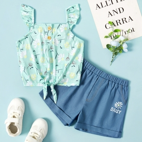 2pcs Toddler Girl Flower Print Daisy Top And Shorts Set