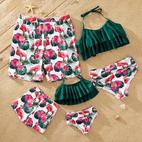 Family Look Floral and Flamingo Print Ruffled Matching Swimsuits