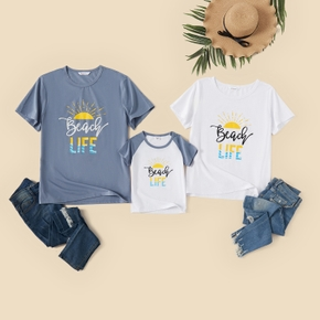 Letter Print Short-sleeve Family Matching T-shirts