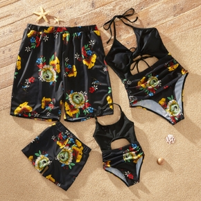 Floral Print Black Family Matching Swimsuits(Halter Straps One-piece Swimsuits for Mom and Girl ; Swim Trunks for Dad and Boy)