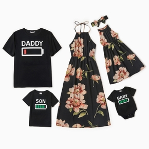 Battery Top Floral Print Dress Family Matching Sets