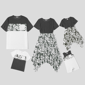 Mosaic Solid Stitching Floral Print Family Matching Sets