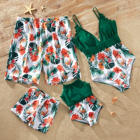Floral Print Splice Family Matching Green Swimsuits
