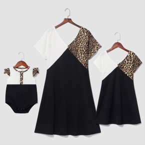 Leopard Stitching Solid V-neck Short Sleeve Dresses for Mommy and Me