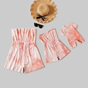 Tie Dye Drawstring Waist Tube Rompers for Mommy and Me