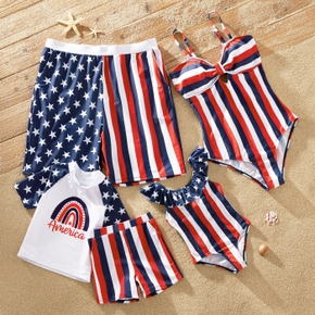 Independence Day Series Star Stripe Swimsuits(Off Shoulder Swimsuits for Mom and Girl ; Swim Trunks for Dad and Boy)