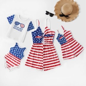 Independence Day Series Flag Print Sling Rompers for Mommy and Me
