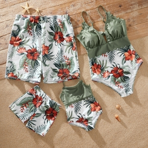 Family Look Solid Stitching Floral Print One-piece Matching Swimsuits