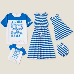 Mosaic Letter and Stripe Family Matching Blue and White Sets