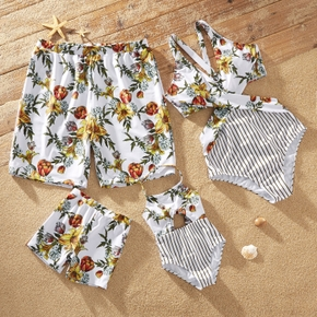 Floral Splice Stripe Print Family Matching Swimsuits(V-neck Cross Back One-piece Swimsuits for Mommy ; Halter One-piece Swimsuits for Girl ; Swim Trunks for Dad and Boy)