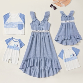 Mosaic 100% Cotton Family Matching Blue Stripe and White Sets