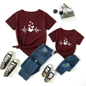 Butterfly Print Wine Red Short Sleeve T-shirts for Mommy and Me