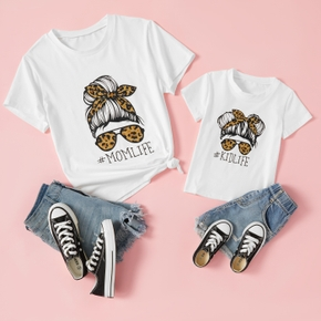 Letter Print Short Sleeve T-shirts for Mommy and Me