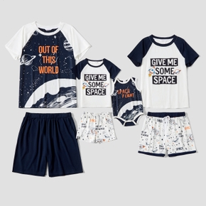 Universe Planet and Letter Family Matching Pajamas Sets(Flame Resistant)