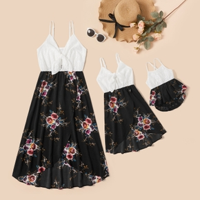 Mommy and Me Solid Lace Stitching Floral Print Sling Dresses