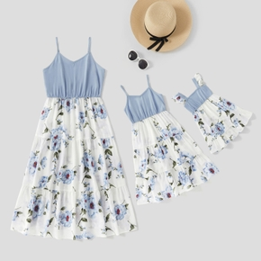 Mommy and Me Solid Stitching Floral Print Sling Dresses