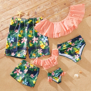 Summer Floral Print Flounce Matching Family Swimsuits