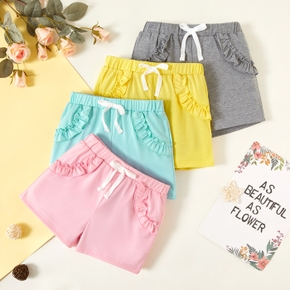 Beautiful Toddler Girl Ruffle Multi-color Adjustable Waistband Shorts