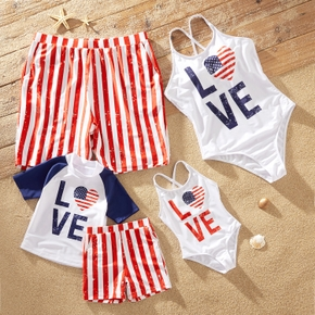 Independence Day Series Family Matching Swimsuits(Back Straps Cross One-piece Swimsuits for Mom and Girl ; 2-piece Sets Swimsuits for Boy ; Swim Trunks for Dad )