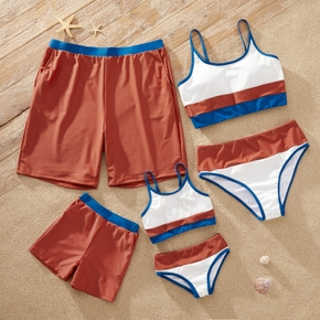 Colorblock Splice Print Family Matching Swimsuits(2-piece Sling Swimsuits for Mom and Girl ; Swim Trunks for Dad and Boy)