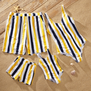 Stripe Splice Print Family Matching Swimsuits