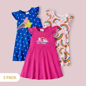 Care Bears 3-Pack Rainbow and Polka Dots Girl Cotton Dress