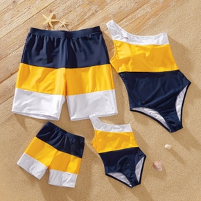 Color Block Splice Print Family Matching Swimsuits(One Shoulder One-piece Swimsuits for Mommy and Girl)