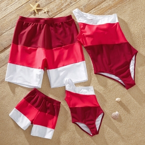 Family Look Red and White Color Block Print Matching Swimsuits( One Shoulder One-piece Swimsuits for Women and Girl)