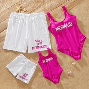 Letter Print Pink and White Series Family Matching Swimsuits