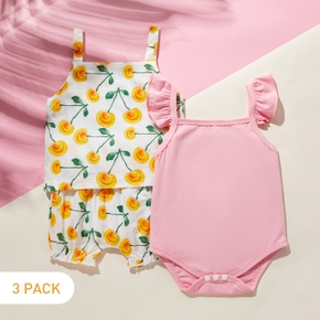 3pcs Baby Girl Sweet Floral Flutter-sleeve Solid Cotton Baby's Sets