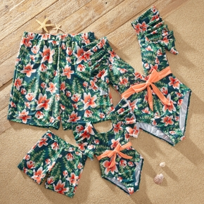 Floral Plant Print Family Matching Swimsuits(One-piece Swimsuits with Waist Tie for Mommy and Girl)