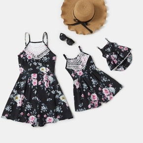 Floral Print Lace Splicing Collar Matching Romper Shorts