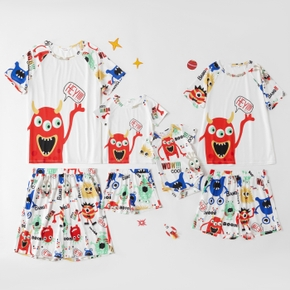 Cartoon Monster Pattern Family Matching Pajamas Sets(Flame Resistant)