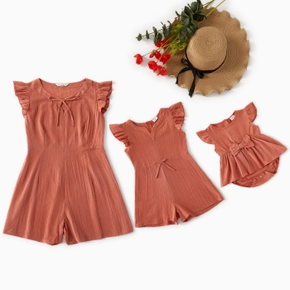 Mommy and Me Solid Flounce Decor Tank Rompers
