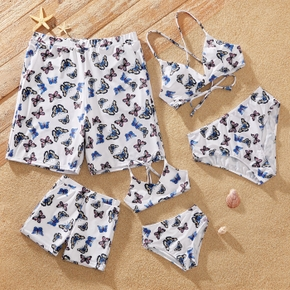 Butterfly Print Family Matching Swimsuits(2-piece Sling Swimsuits for Mommy and Girl; Swim Trunks for Daddy and Boy)