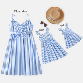 Blue and White Stripe Matching Sling Midi Dresses