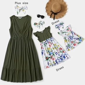 Solid Color and Floral Print Matching Midi Tank Dresses