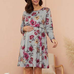 Maternity Round collar Floral full print Knee length A Long-sleeve Nursing Dress