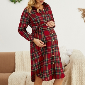 Maternity Polo collar Plaid full print Red Medium length Shirt Long-sleeve Nursing Dress