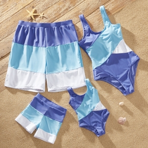 Family Look Blue Series Colorblock One-piece Matching Swimsuits