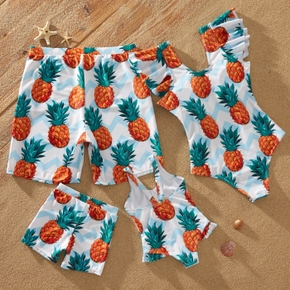 Pineapple Print Flutter-sleeve One-piece Family Matching Swimsuit