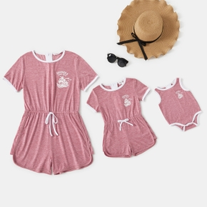 Mommy and Me Solid Round-neck Rompers