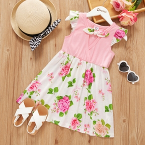 Toddler Girl Bowknot And Ruffle-sleeve Floral Print Dress