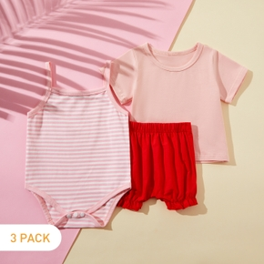 3pcs Baby Girl Sweet Solid Cotton Romper Baby's Sets